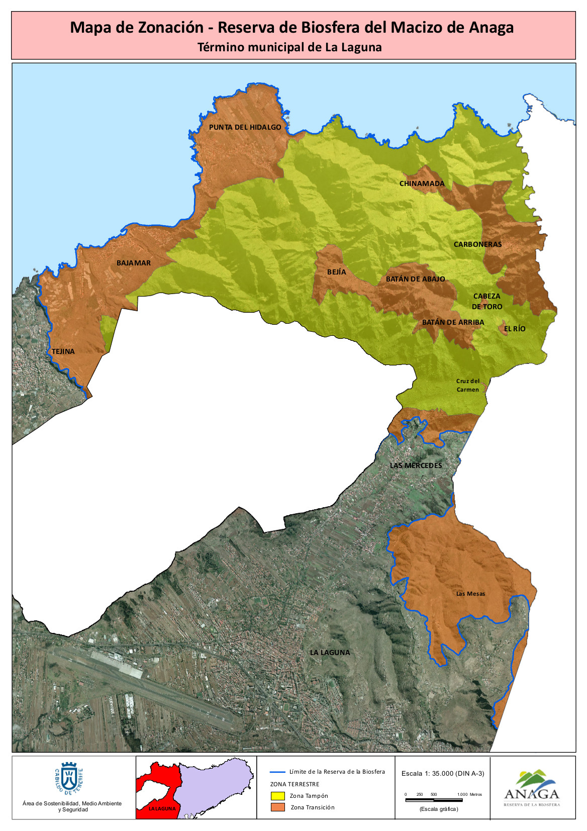 Mapa de Zonación Reserva de la Biofera del Macizo de Anaga - Término Municipal de La Laguna