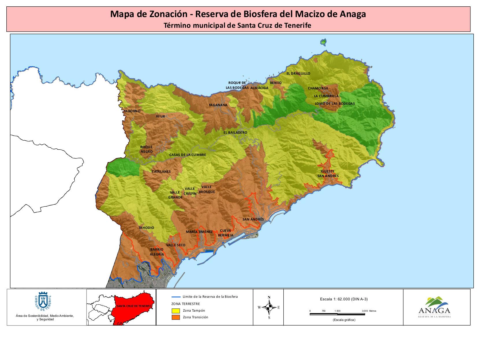 Mapa de Zonación Reserva de la Biofera del Macizo de Anaga - Término Municipal de Santa Cruz