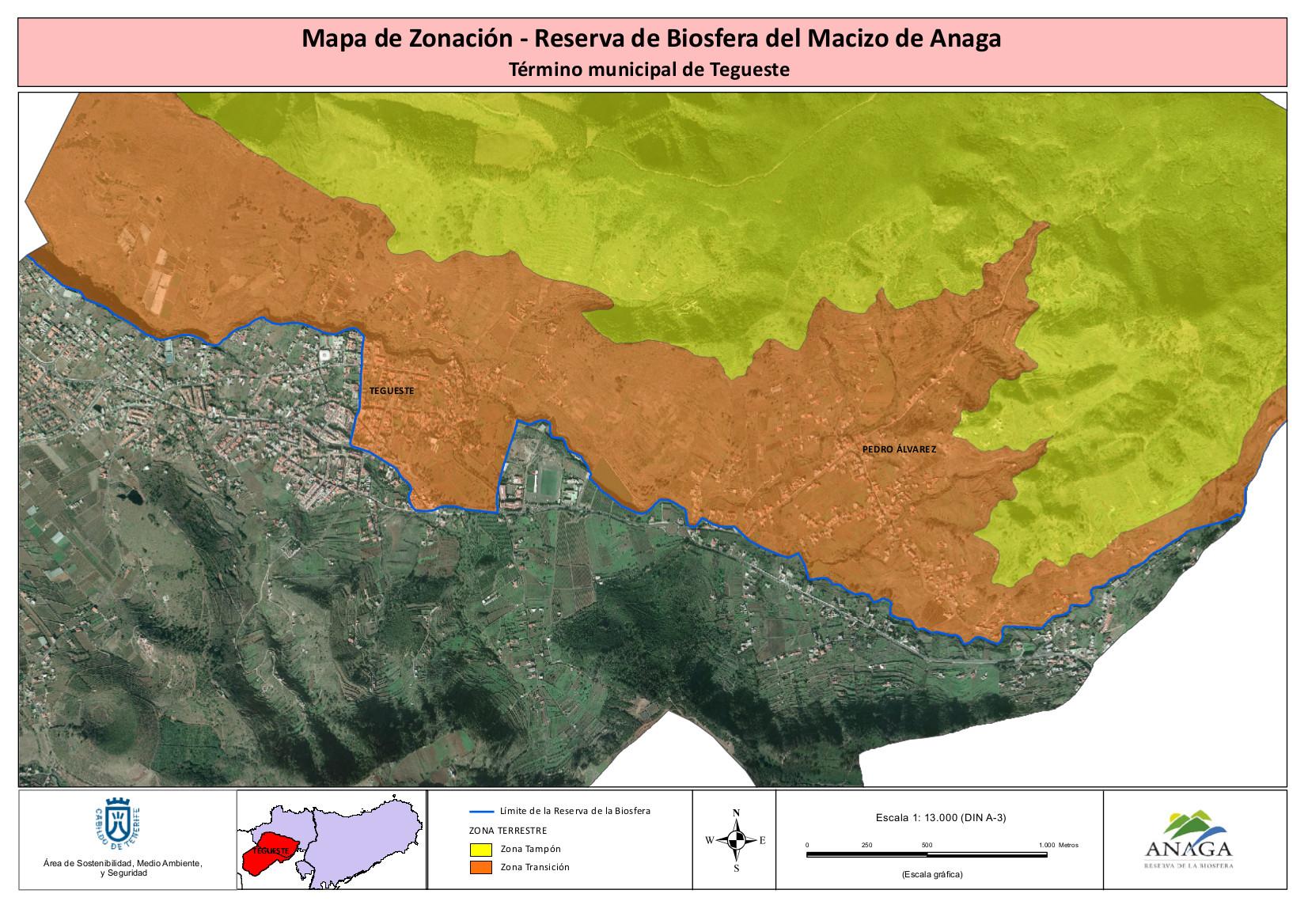 Mapa de Zonación Reserva de la Biofera del Macizo de Anaga - Término Municipal de Tegueste