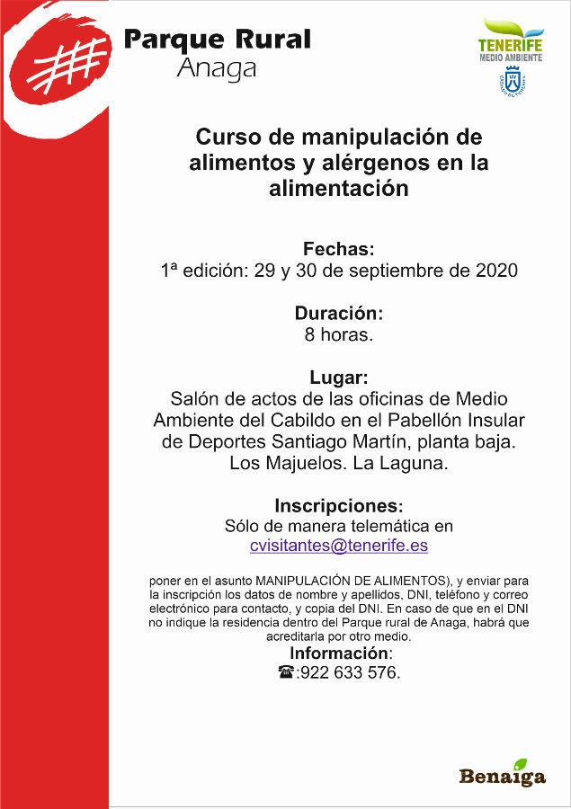 Curso Septiembre 2020: Manipulación de Alimentos y Alérgenos en la Alimentación