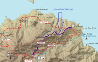 Aviso cierre tramo sendero entre Chamorga y Casas de Tafada